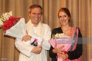 NEW DELHI, INDIA – APRIL 26: German Ambassador Michael Steiner with his wife Eliese Steiner during an art fusion charity concert – 'Sufiaana' organised by Ammucare Charitable Trust (ACT) at Chinmaya Auditorium, Lodhi Road on April 26, 2014 in New Delhi, India.